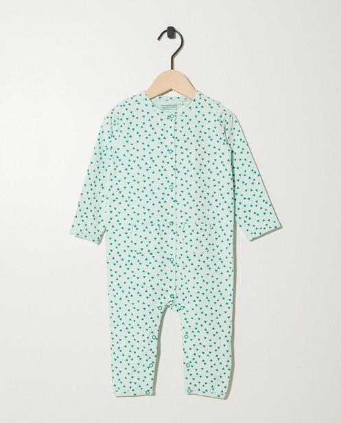 Pyjama vert pâle en coton bio - imprimé intégral - Newborn