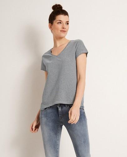 Gestreept T-shirt van een linnenmix