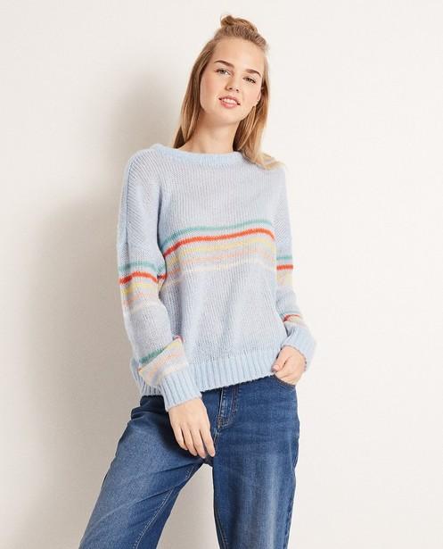 Pullover - Helltürkis - Gestreepte trui van een luxe wolmix