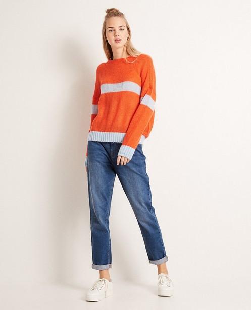 Colour-Block-Pullover aus luxuriösem Wollmix - mit Mohair - Groggy
