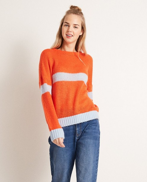 Pullover - Knallrot - Color block trui van een luxe wolmix