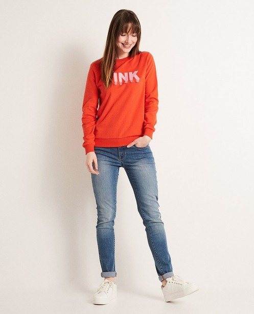 Sweater met geborduurd opschrift - en franjes - JBC