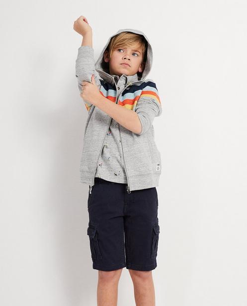 Strickjacken - Grau - Trainingsjacke mit Color-Block