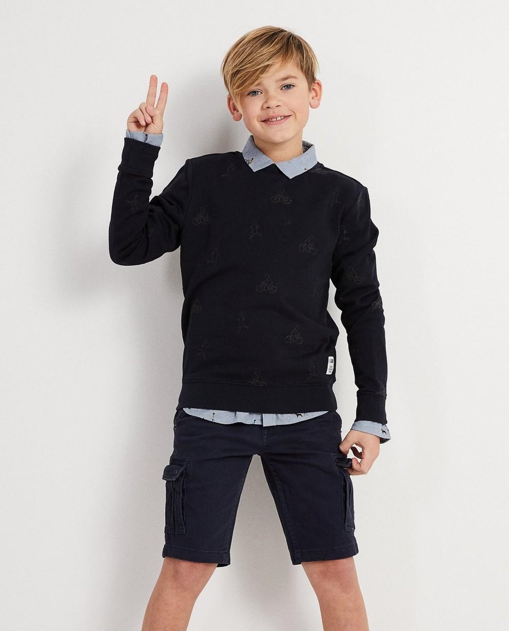 Sweater - Navy - Sweater mit gesticktem Print