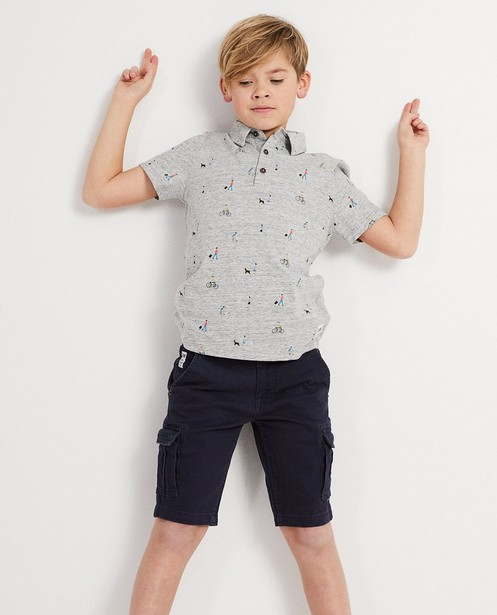Polos - grey - Biokatoenen polo met allover print I AM