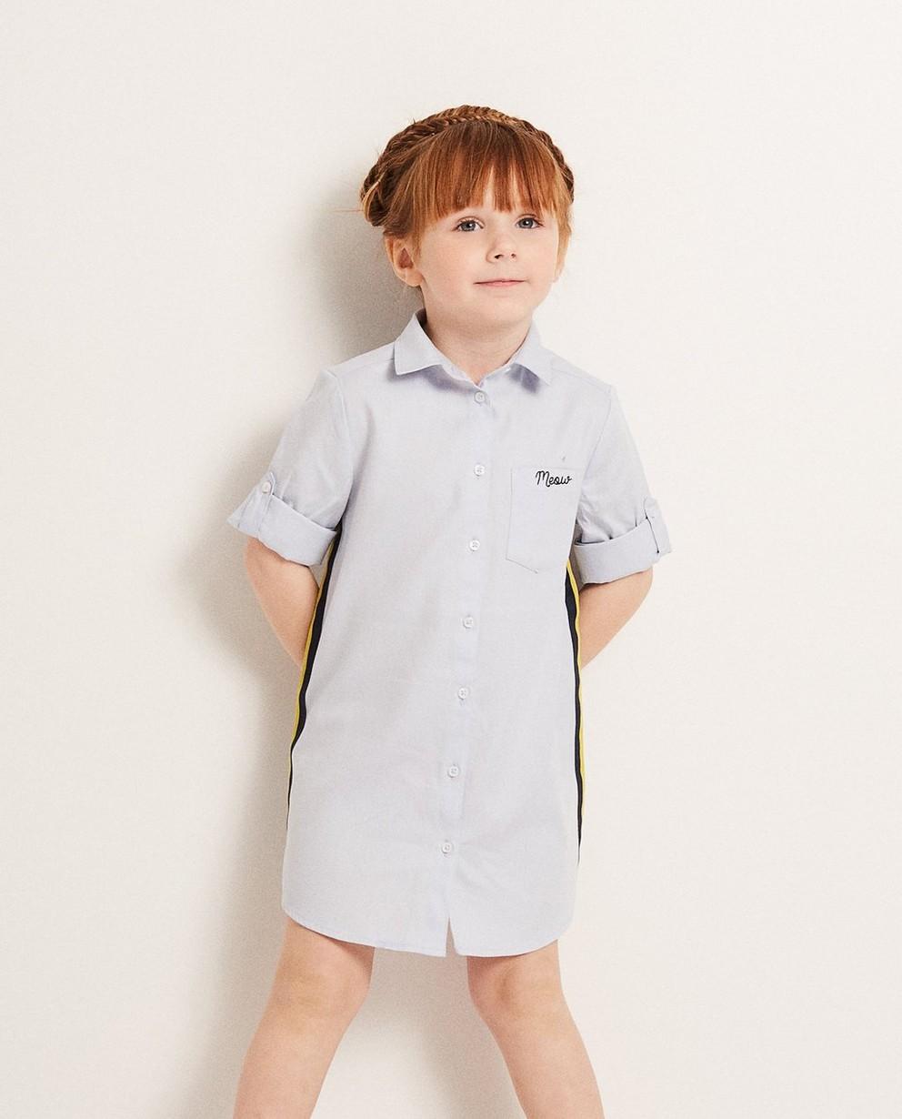 Kleider - Hellflieder - Hellblaues Hemdkleid mit Besatz
