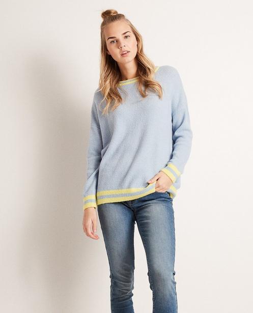 Pullover - Helltürkis - Colour-Block-Pullover aus luxuriösem Wollmix