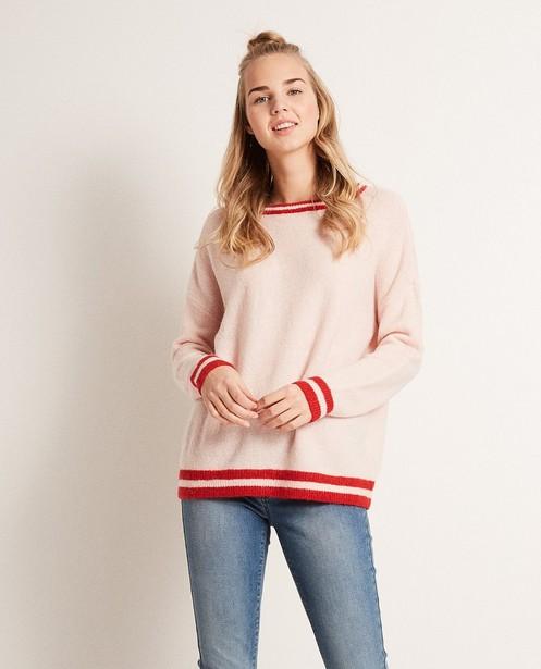 Pullover - Helltürkis - Color block trui van een luxe wolmix