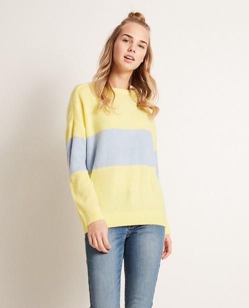 Pullover - Hellgelb - Color block trui van een luxe wolmix