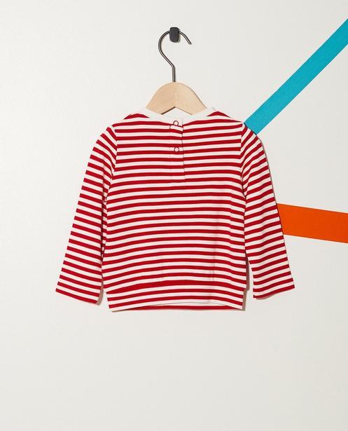 Sweater - Pflaume - Gestreifter Sweater mit Katzenprint