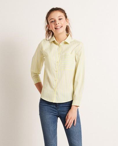 Gestreept viscose hemd