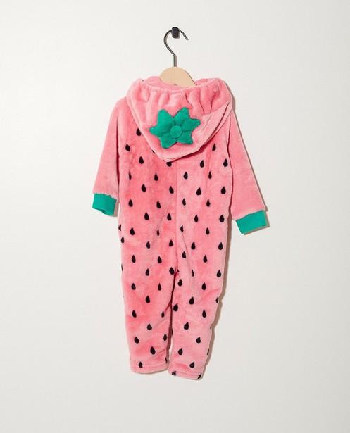 Nachtwäsche - Pink - Onesie Erdbeere