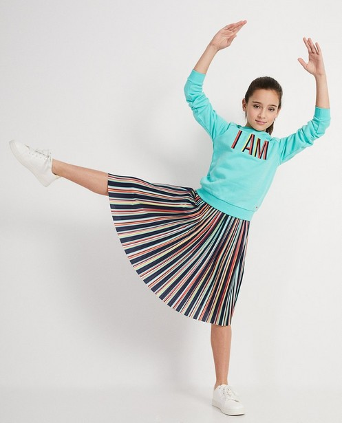 Sweater van lyocell met opschrift I AM - in turquoise - I AM