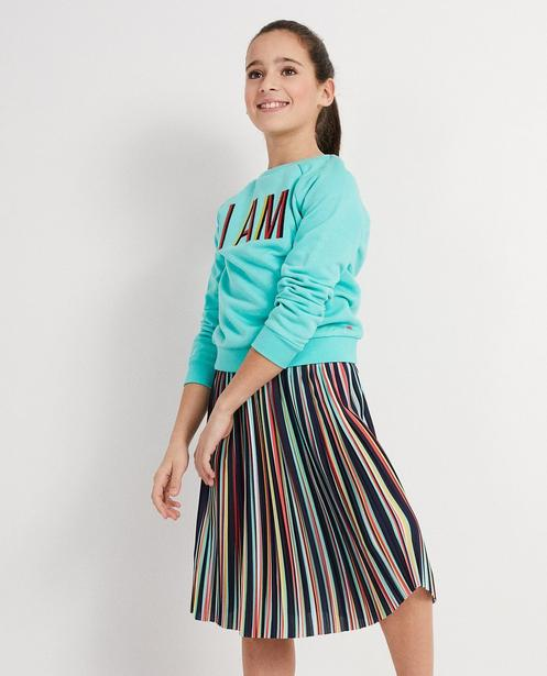 Sweater - Aqua - Lyocell Sweater mit Aufschrift I AM