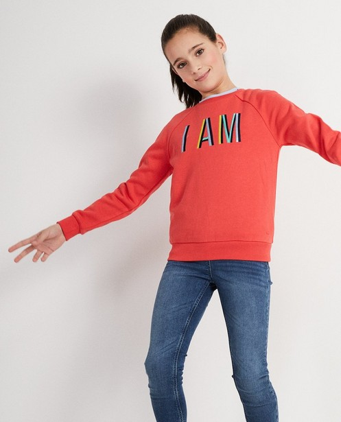 Sweater - Aqua - Lyocell sweater met opschrift I AM