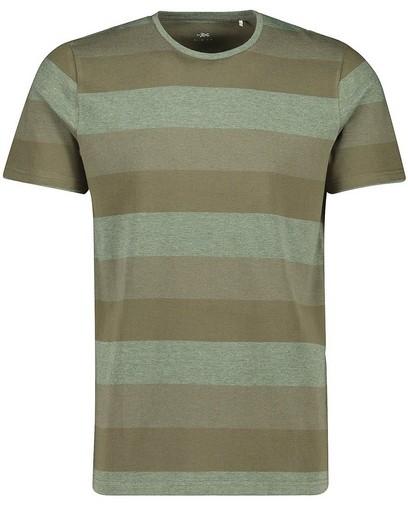 T-shirt kaki à larges rayures