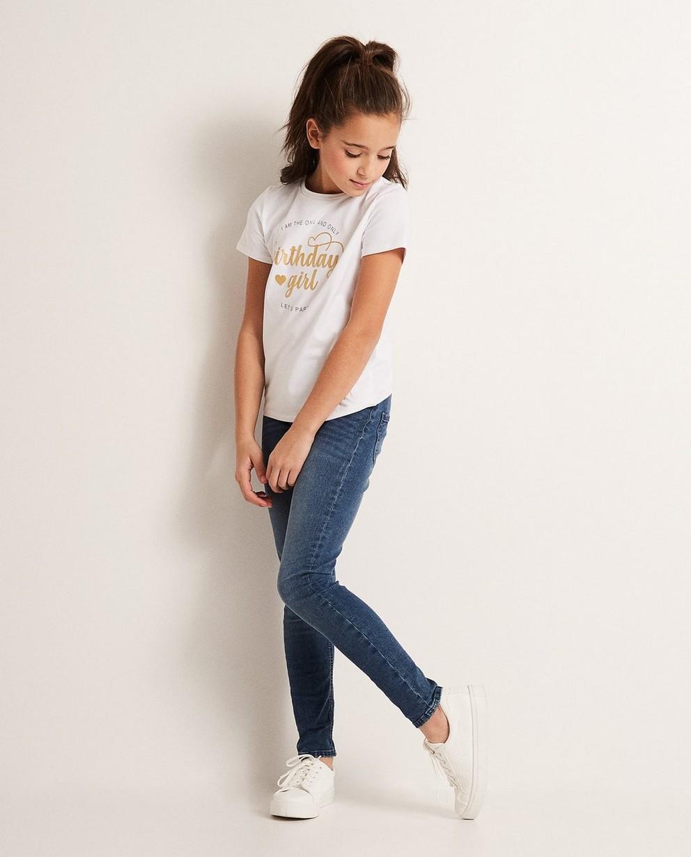 T-shirt verjaardag, met button - en glitterprint - JBC