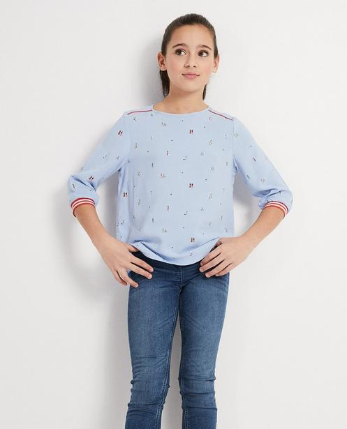 Hemden - Helltürkis - Bluse hellblau mit Print