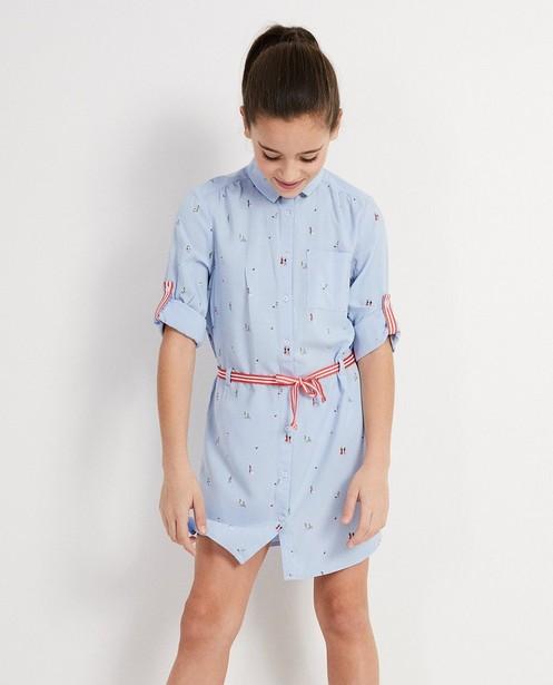 Kleedjes - BLL - Lichtblauw hemdjurk met print I AM