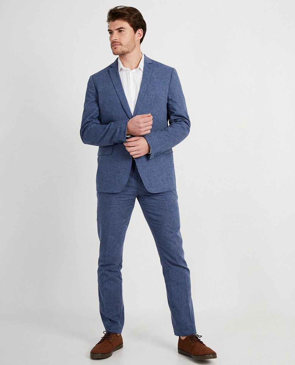 Geklede blauwe kostuumbroek  - bevat linnen - JBC NL