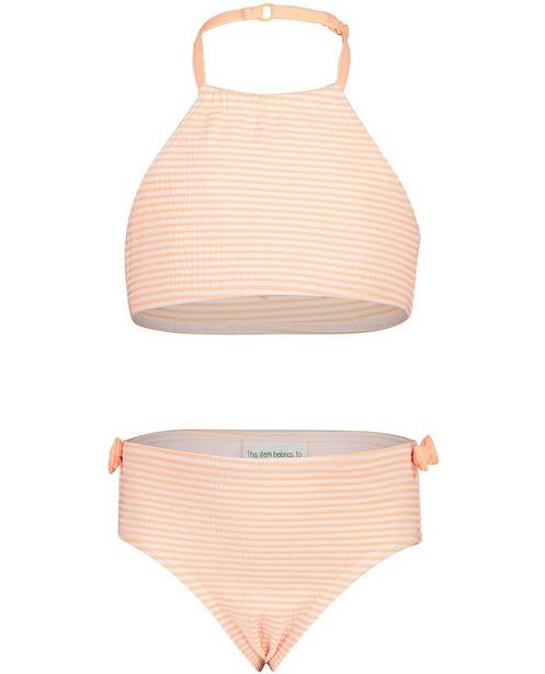 Bikini orange fluo à rayures - dos nageur - Kathy
