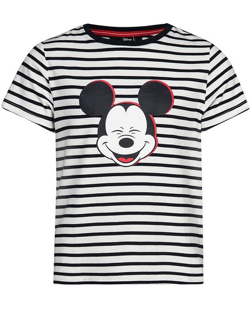 Gestreiftes T-Shirt mit Print - Mickey - Mickey