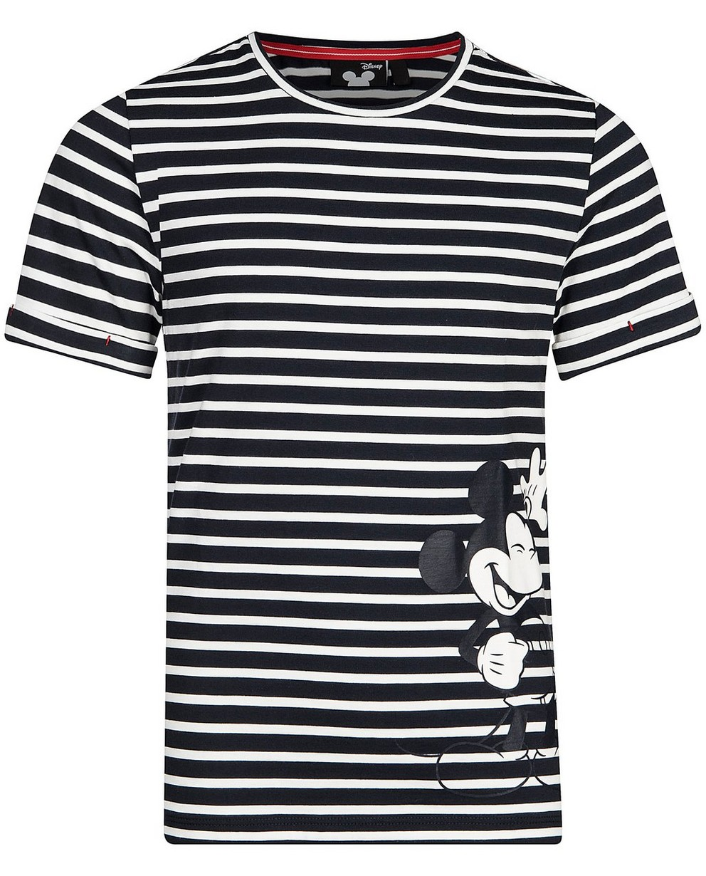 Gestreiftes T-Shirt mit Print - Mickey Mouse - Mickey