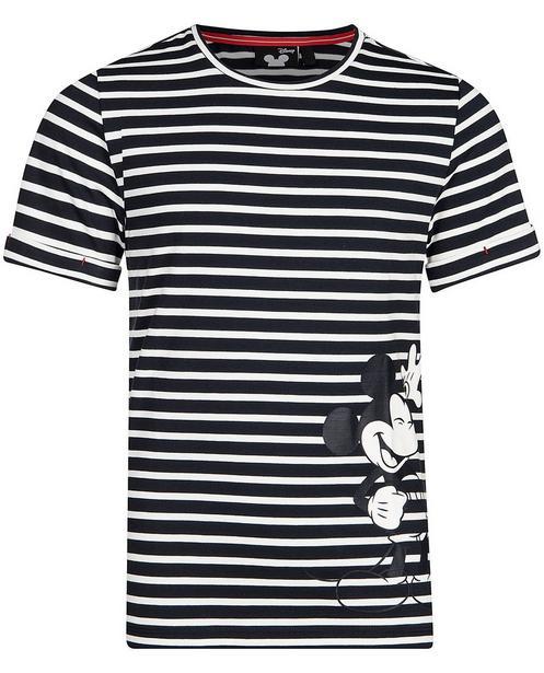 Gestreiftes T-Shirt mit Print - Mickey Mouse - Mickey