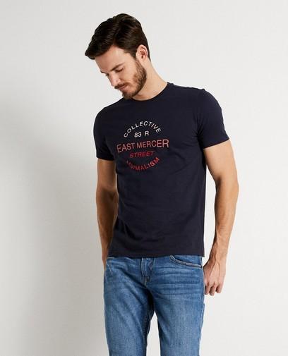 T-shirt à inscription bleu foncé