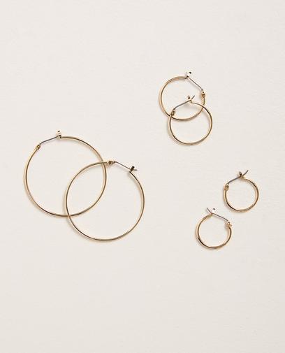Set van 3 paar oorringen Pieces