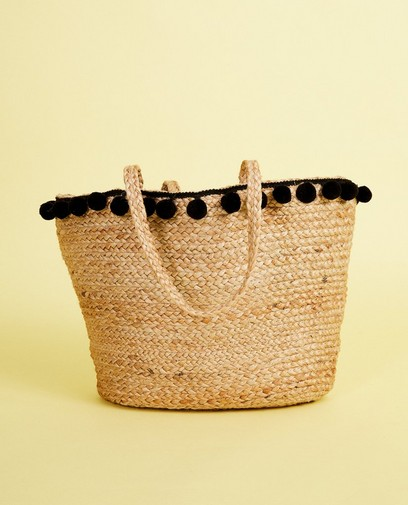 Sac en paille, pompons, Pieces