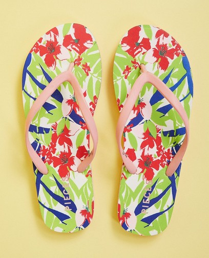Roze teenslippers met print Pieces