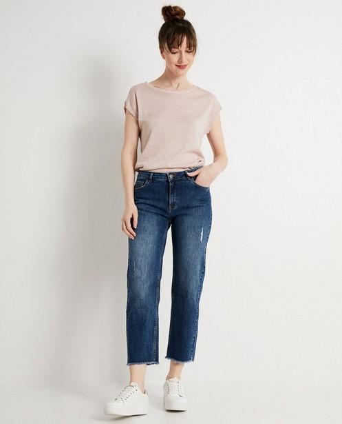 Destroyed mom jeans met rafels  - In blauw - JBC