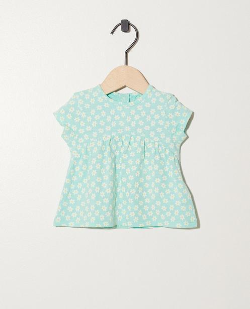 Blouse imprimé fleuri Coton bio - En bleu-vert - Newborn
