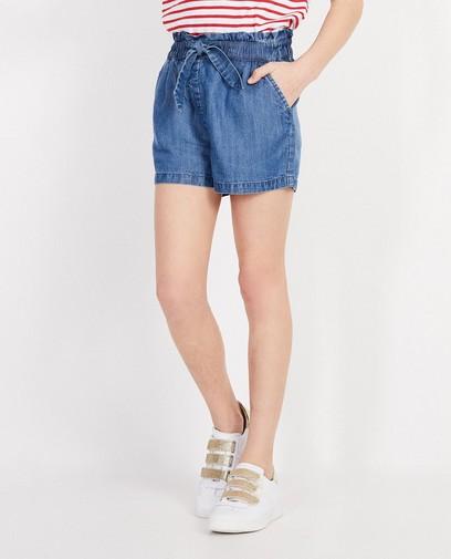 Jeansshort met knooplint