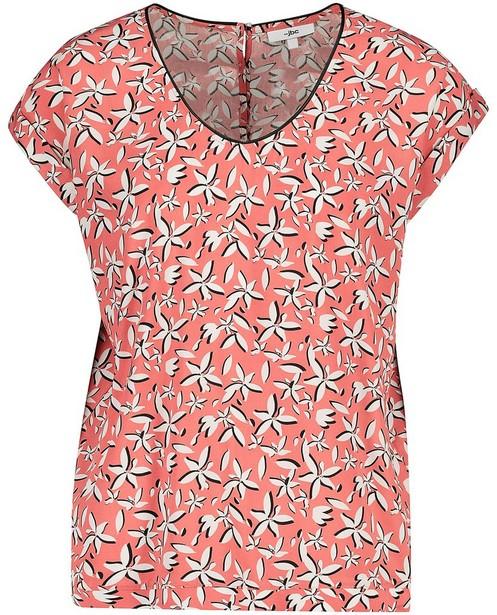 T-shirt met witte bloemenprint - Roze met zwarte details - JBC