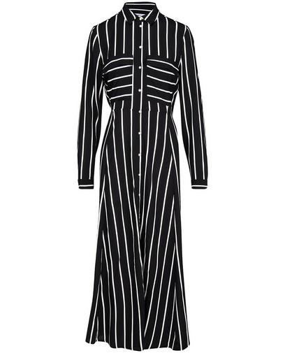 Zwarte maxi-jurk met witte strepen