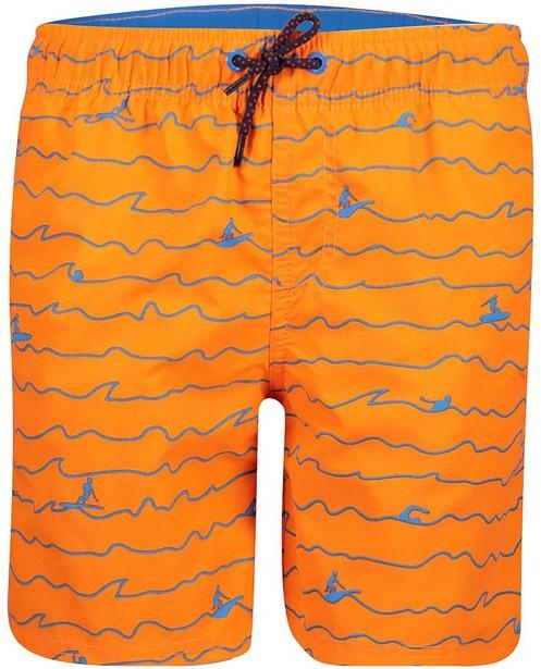 Short de natation orange - imprimé bleu - JBC