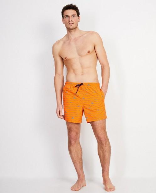 Fluo-oranje zwemshort met print - met netje - JBC