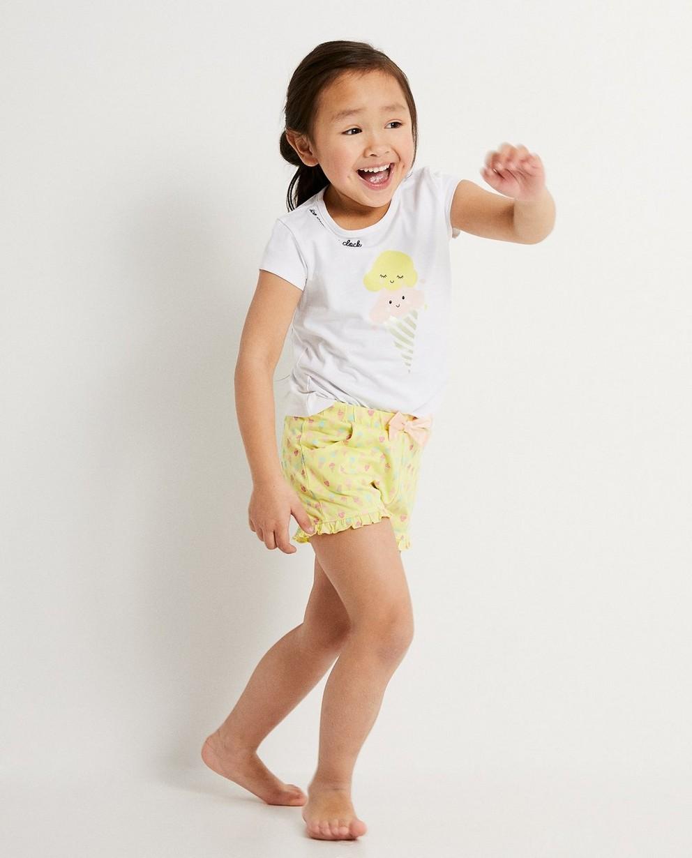 Pyjama rose estival en coton bio - chouette inscription - JBC