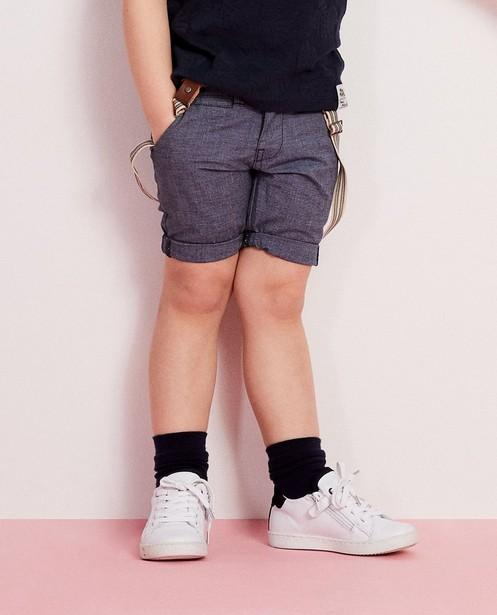 Shorts - aqua - Blauwe short met bretellen 2-7