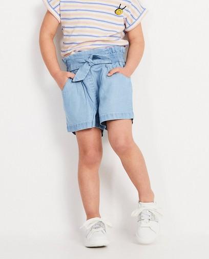 Short bleu en lyocell