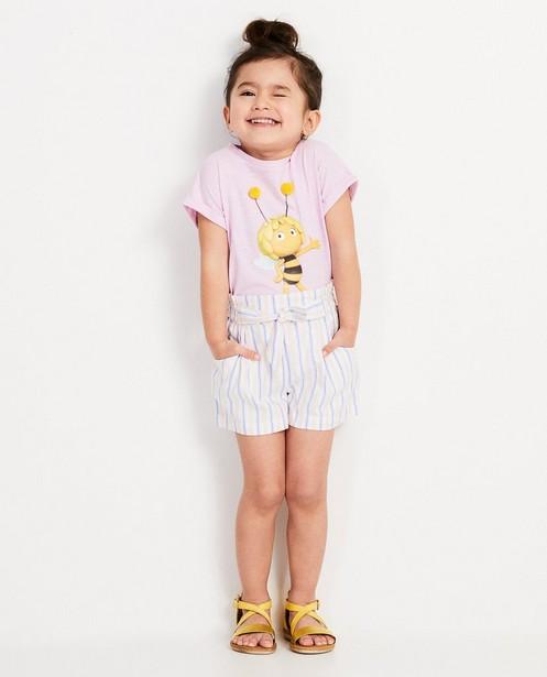 Lichtpaars T-shirt met print Maya - Met gele pomponnetjes - Maya