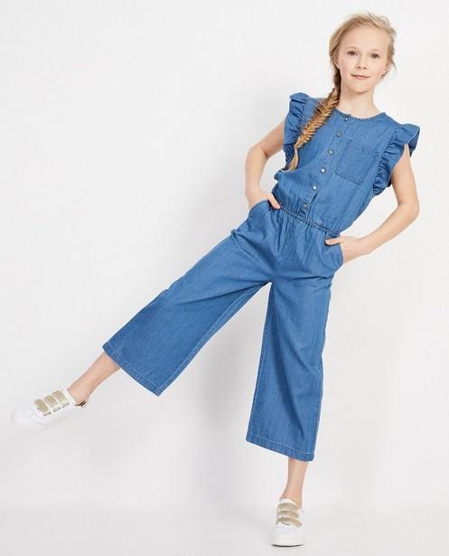 Blauwe jumpsuit met ruches - Met brede pijpen - JBC