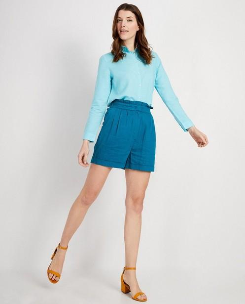 Turquoise hemd van linnen I AM - #agreenjourney - I AM