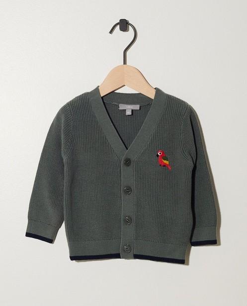 Kakigroen vest met knopen - en papegaai - JBC NL