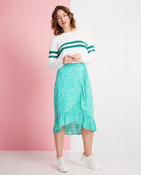 Pull blanc à rayures vertes - tricot à grosses mailles - JBC