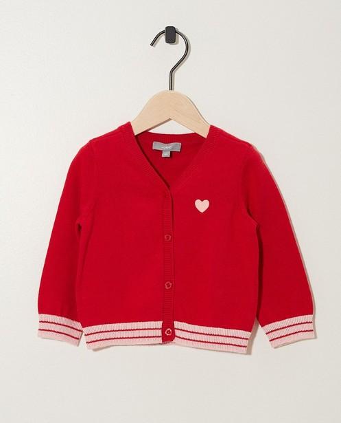 Gilet rouge avec une rayure - fin tricot - JBC
