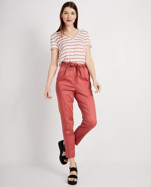 Gestreept t-shirt van lyocell - Met roze strepen - JBC