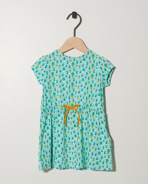 Robe verte avec ceinture à nouer - imprimé intégral - JBC